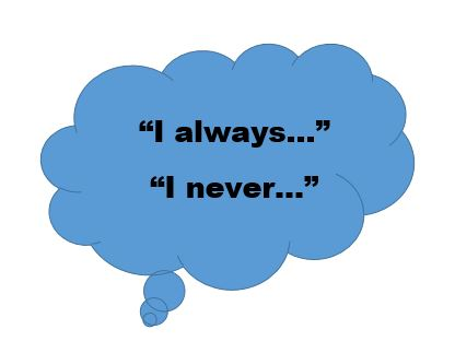"""Thought bubble saying """"I always..."""" and """"I never..."""""""