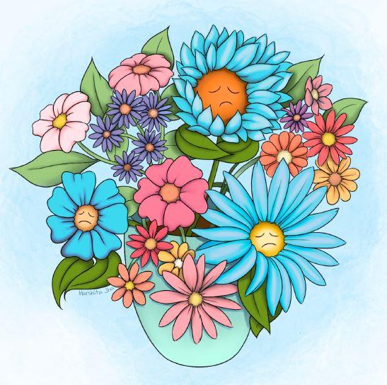 Illustration of flower bouquet; some flowers have sad faces